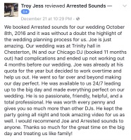 Trinity Hall St. Patricks Church Chesterton Wedding DJ Arrested Sounds Review